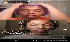 Two sexy phat ass ebonys twerk it on Instagram live