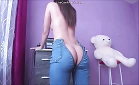 Fit brunette teen ass twerking and dildo masturbating